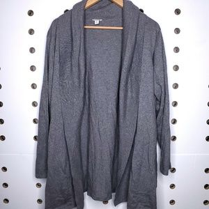 Pure Jill Open Front Cashmere Blend Cardigan Plus